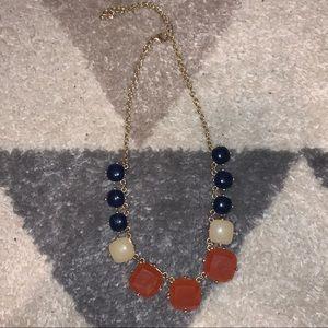 Navy, Cream, and Orange Necklace